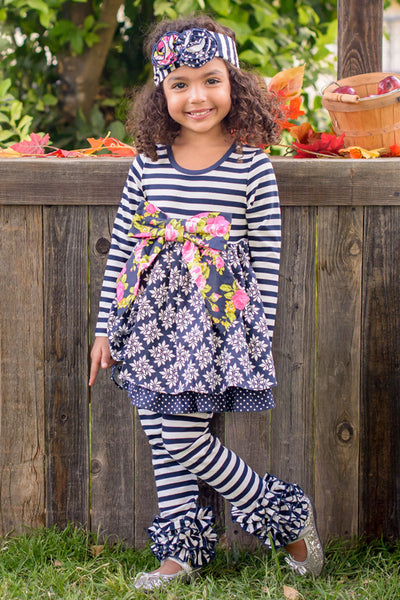 Serendipity 2017 Fall Midnight Blossom Bow Dress W/Legging Set - JEN'S KIDS BOUTIQUE