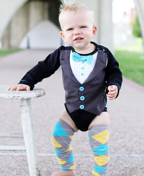Rugged Butts black tuxedo LS one piece - JEN'S KIDS BOUTIQUE