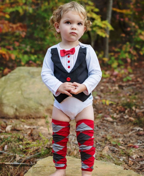 Rugged Butts white tux LS bodysuit - JEN'S KIDS BOUTIQUE