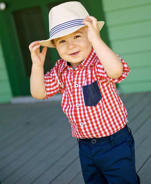 Rugged Butts Red Gingham Button Up Bodysuit - JEN'S KIDS BOUTIQUE