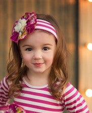 She Bloom Blush And Blue Headband - JEN'S KIDS BOUTIQUE
