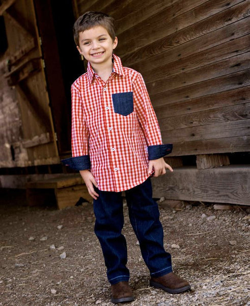 Rugged Butts Blue Gingham Button Down Shirt - JEN'S KIDS BOUTIQUE