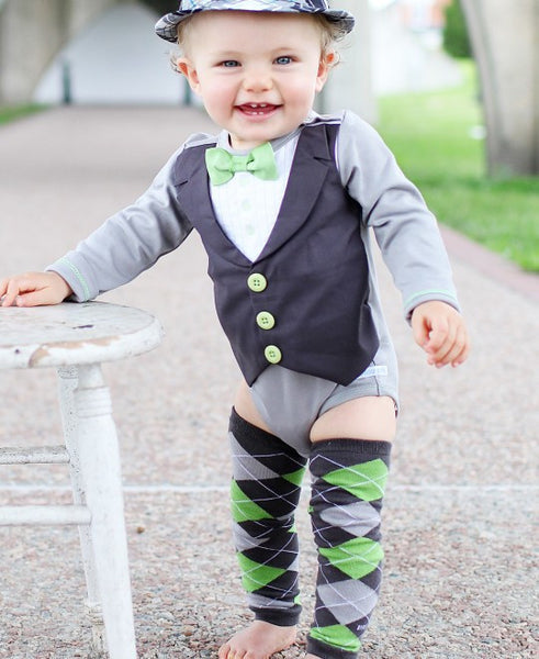 Rugged Butts boys LS lime tuxedo two piece set with leggings - JEN'S KIDS BOUTIQUE
