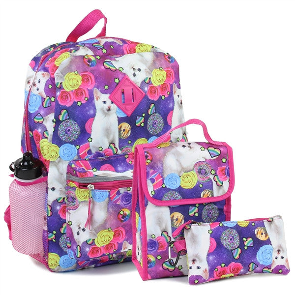 Confetti Adorable Kitty Girls Back Pack W/Lunch Kit & Pencil Case Combined - JEN'S KIDS BOUTIQUE