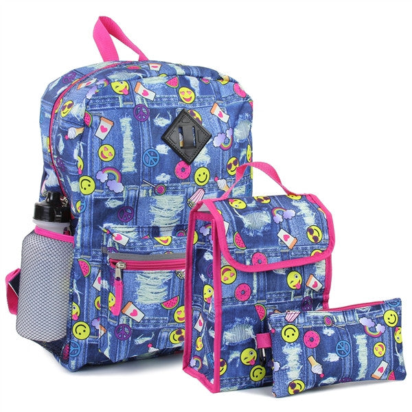 Confetti Adorable Emoji Girls Back Pack W/Lunch Kit & Pencil Case Combined