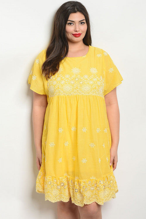 2019 Summer Women\'s Plus Size Yellow Cotton Dress