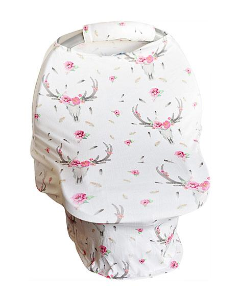 2018 Spring Bohemian Skull  Carseat Cover W/Plush Handle - JEN'S KIDS BOUTIQUE