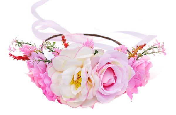 Spring Deluxe Floral Headpiece Pink - JEN'S KIDS BOUTIQUE