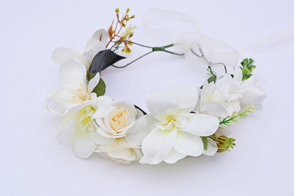 Spring Deluxe Floral Headpiece Ivory - JEN'S KIDS BOUTIQUE