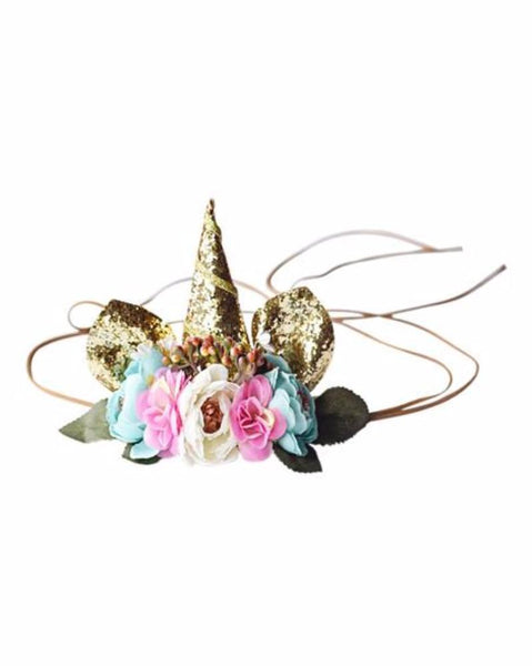 2018 Spring Gold Glitter Floral Unicorn Crown Tie Back Headband - JEN'S KIDS BOUTIQUE