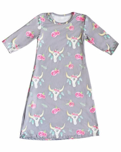 2018 Spring Floral Skull Maxie Dress - JEN'S KIDS BOUTIQUE