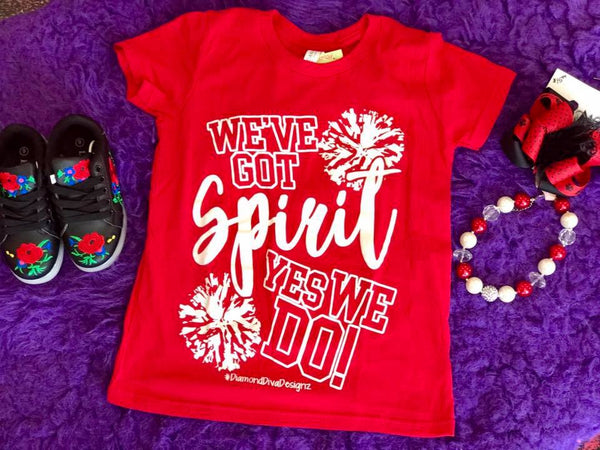 Diamond Diva 2017 Fall Got Spirit Youth Game Day Red/White Shirt