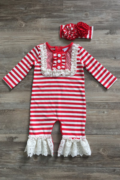 Serendipity 2017 Valentines Stripped Infant Long All W/Trim - JEN'S KIDS BOUTIQUE