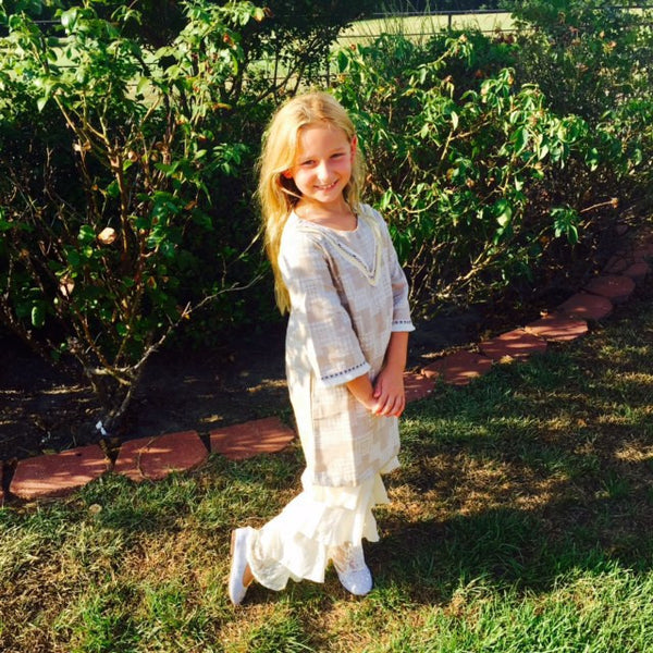 L and B Adorable Tiered Pants with Lace Print Beige - JEN'S KIDS BOUTIQUE