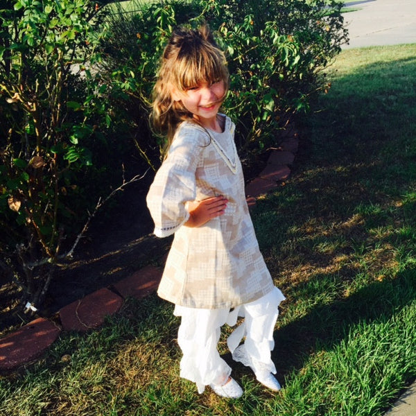L and B Adorable Tiered Pants with Lace Print white - JEN'S KIDS BOUTIQUE