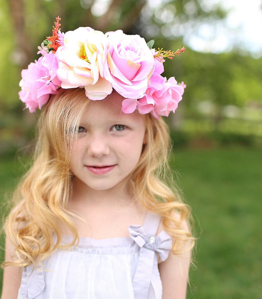 2018 Spring Deluxe Floral Headpiece Pink - JEN'S KIDS BOUTIQUE