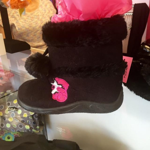 Ameta Black Fur Boots With Bear - JEN'S KIDS BOUTIQUE