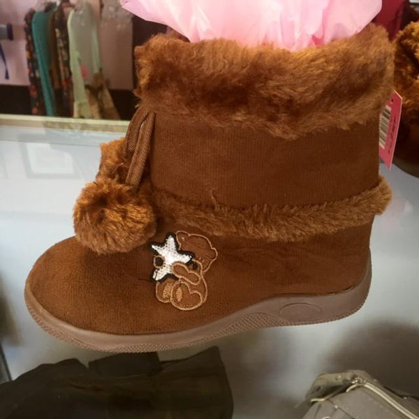 Ameta Brown Fur Boots With Bear - JEN'S KIDS BOUTIQUE