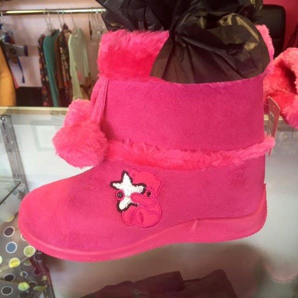 Ameta Hot Pink Fur Boots With Bear - JEN'S KIDS BOUTIQUE
