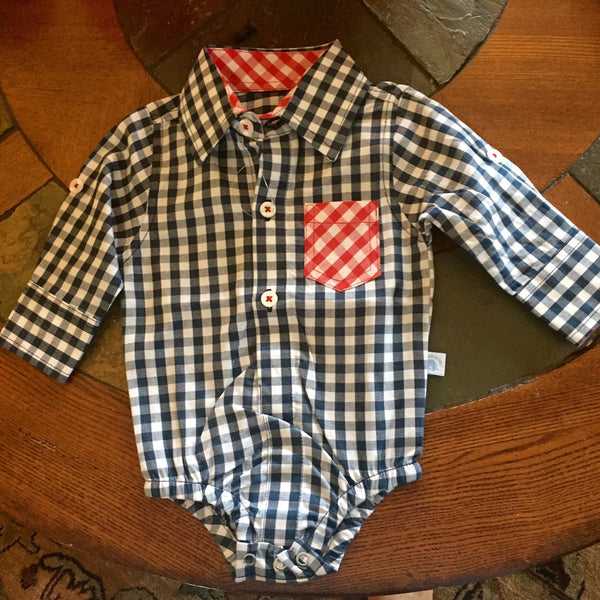 Rugged Butts Navy Gingham Button Up Bodysuit - JEN'S KIDS BOUTIQUE