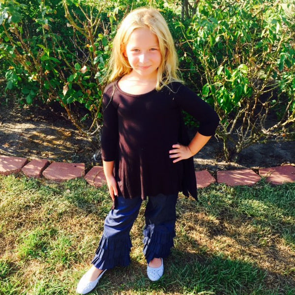 Sage And Lilly Chambray Flare Pants - JEN'S KIDS BOUTIQUE