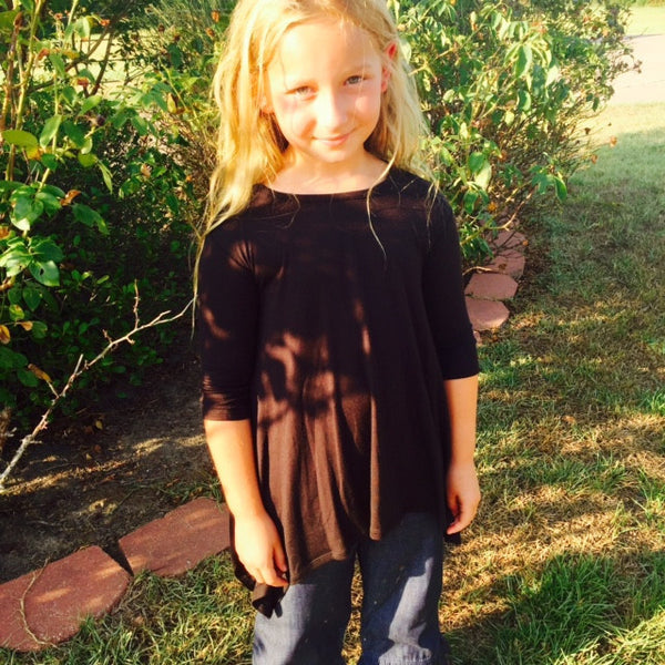 L and B Playful Tunic Black Shirt - JEN'S KIDS BOUTIQUE
