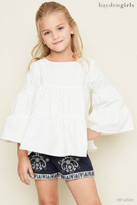 Hayden Spring Bell Sleeve Tear Blouse Off White - JEN'S KIDS BOUTIQUE