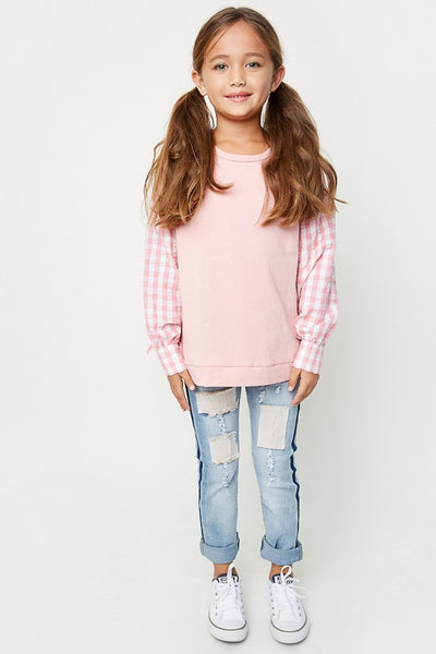Hayden Fall Distressed Patch Work Jeans - JEN'S KIDS BOUTIQUE