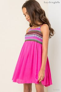 Hayden Spring Fuchsia Embroidered Tank Dress S - JEN'S KIDS BOUTIQUE