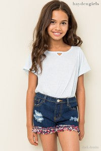 Hayden Spring Distressed Embellished Dark Denim Shorts - JEN'S KIDS BOUTIQUE