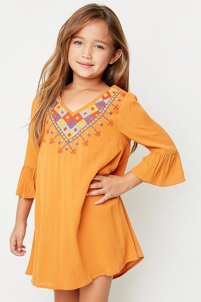 Hayden 2017 Fall Tribal Embroidered Camel Tunic Dress - JEN'S KIDS BOUTIQUE
