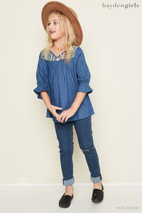 Hayden Spring Denim Patchwork Top - JEN'S KIDS BOUTIQUE