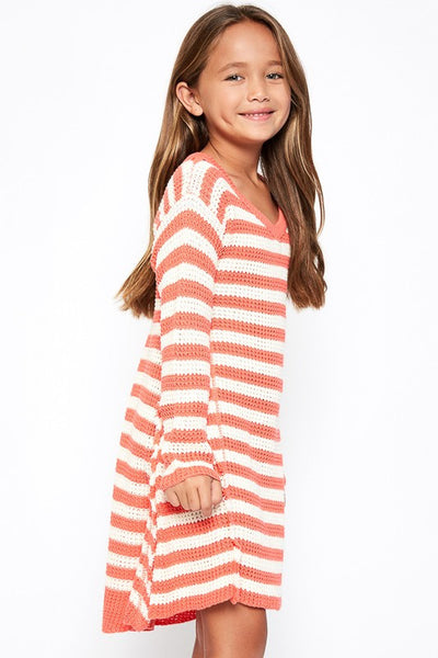 Hayden 2017 Fall Coral Stripped Sweater Top - JEN'S KIDS BOUTIQUE