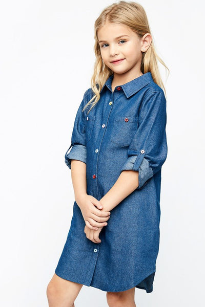 Hayden Fall Denim Embroidered Back Chambray Dress - JEN'S KIDS BOUTIQUE