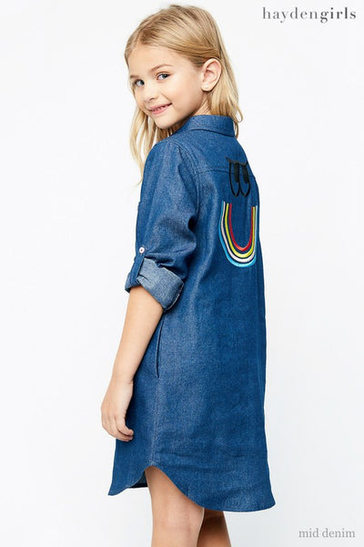 Hayden 2017 Fall Denim Embroidered Back Chambray Dress - JEN'S KIDS BOUTIQUE