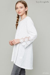 Hayden 2017 Fall Sleeved Detailed Tunic Shirt Off White Pre Order - JEN'S KIDS BOUTIQUE