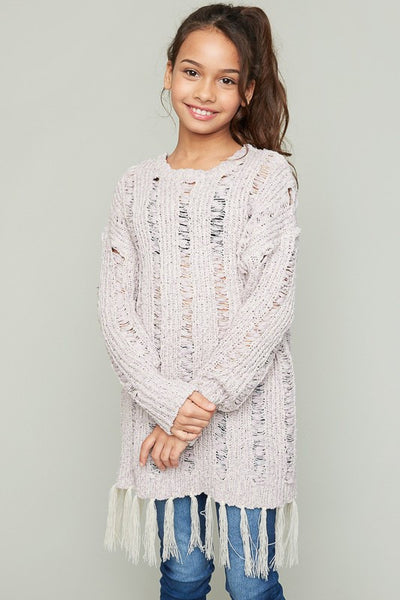 Hayden 2017 Fall Fuzzy Knitted Sweater Top Mauve - JEN'S KIDS BOUTIQUE