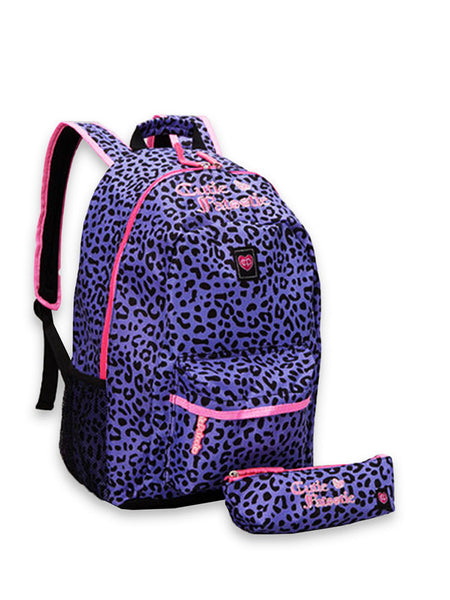 Cutie Patootie Adorable Purple Cheetah Backpack And Pencil Pouch - JEN'S KIDS BOUTIQUE