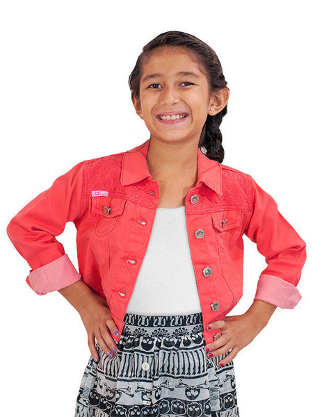 Cutie Patootie Twill Salmon Jacket with Crochet - JEN'S KIDS BOUTIQUE