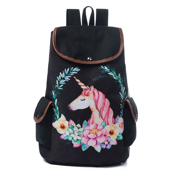 2018  Unicorn Face Backpack Black - JEN'S KIDS BOUTIQUE