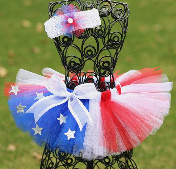 2018 Summer 4th Of July Red White & Blue Tutu With Headband - JEN'S KIDS BOUTIQUE