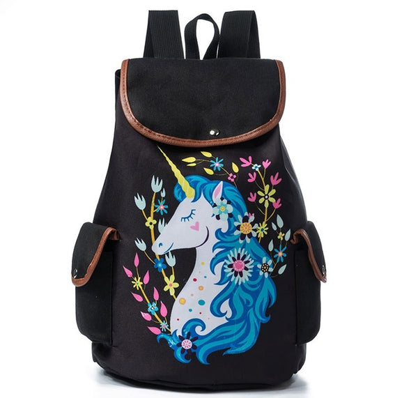 2018 Colorful Unicorn Backpack Black - JEN'S KIDS BOUTIQUE