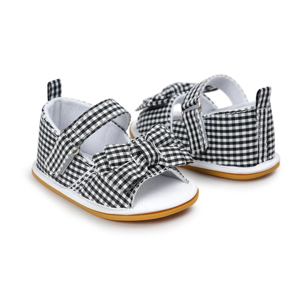 2018 Summer Black Stripped Princess Girls Baby Bow Knot Stick Bow Striped Sandals Pre Order - JEN'S KIDS BOUTIQUE