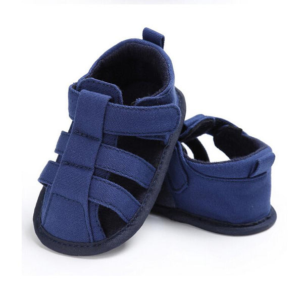 2018 Summer Baby Boys Dark Blue Canvas Soft Sole Crib Sneakers Sandals Shoes Pre Order - JEN'S KIDS BOUTIQUE