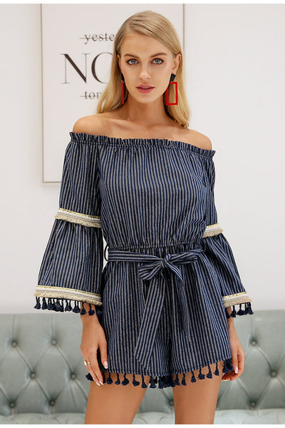 2018 Women's Navy Pin Stripe With Gold Fringes Off The Shoulder Romper - JEN'S KIDS BOUTIQUE