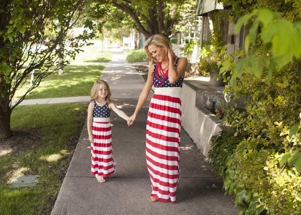 2019 Summer Mom & Me Red White Blue Stars Maxi Dress Kids - JEN'S KIDS BOUTIQUE