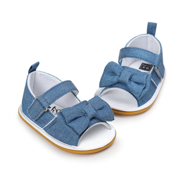 Copy of 2018 Summer Denim Princess Girls Baby Bow Knot Stick Bow Striped Sandals Pre Order - JEN'S KIDS BOUTIQUE