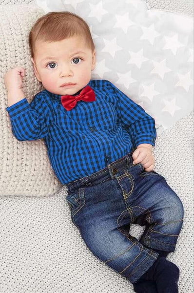 2018 Fall Infant Blue Plaid Long Sleeve Romper & Pants With Bow Tie - JEN'S KIDS BOUTIQUE