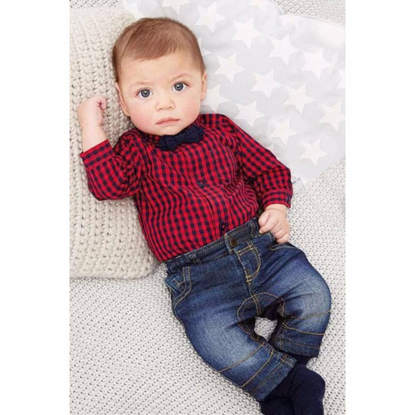2018 Fall Infant Red Plaid Long Sleeve Romper & Pants With Bow Tie - JEN'S KIDS BOUTIQUE