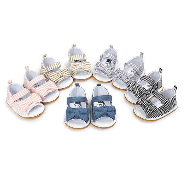 Summer Pink Stripped Princess Girls Baby Bow Knot Stick Bow Striped Sandals - JEN'S KIDS BOUTIQUE